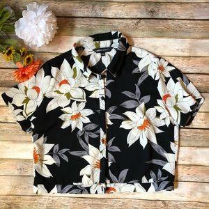 Vintage black & white floral tee shirt  cropped